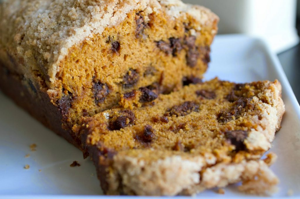 Pumpkin Chocolate Chip Bread with Streusel Topping | My Name Is Snickerdoodle