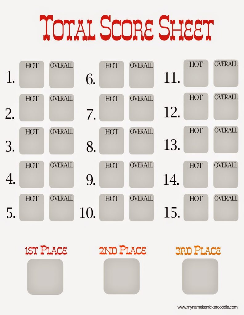 Total Score Sheet for a Chili Cook Off | My Name Is Snickerdoodle