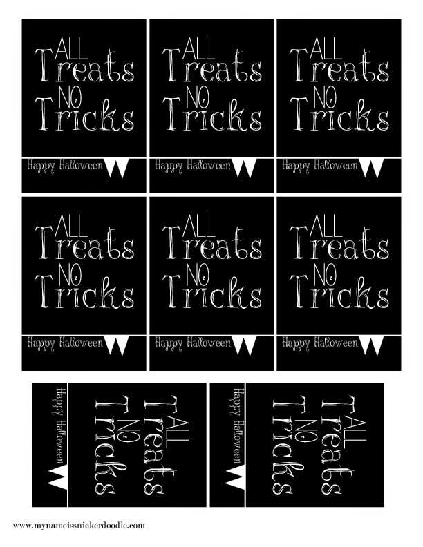 All Treats No Tricks goodie bag/party favor tag for Halloween!  |  My Name Is Snickerdoodle