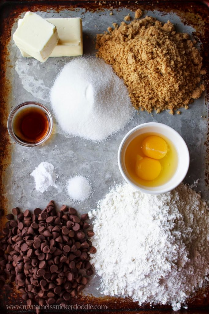 Simple ingredients for the best chocoolate chips cookies EVER!     My Name Is Snickerdoodle