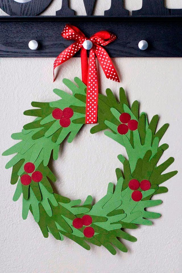 Kids Hand Print Christmas Wreath Tutorial My Name Is Snickerdoodle