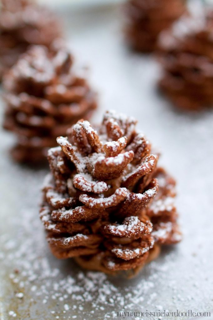 Edible Chocolate Pinecones that are a perfect treat for kids at Christmas time!  Plus they are quick and easy!    My Name Is Snickerdoodle