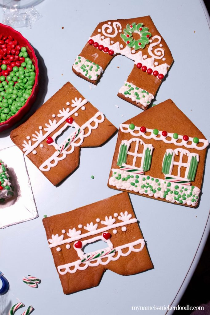 Try decortating the sides of your Christmas gingerbread house before assembling it.  |  My Name Is Snickerdoodle