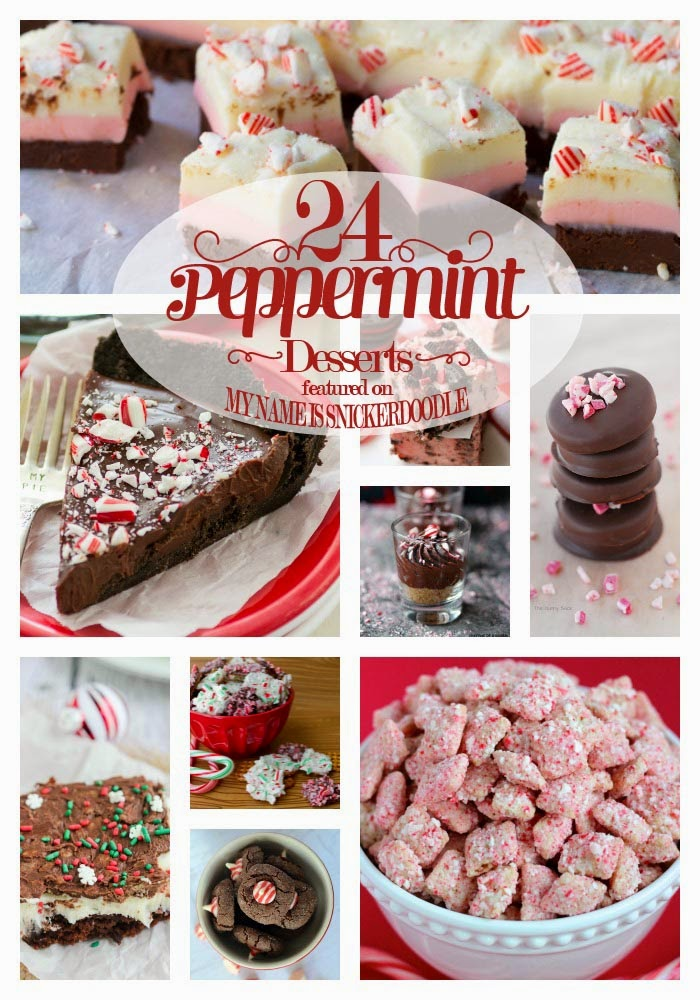 A yummy recipe collection of 24 Peppermint Desserts and Treats for Christmas!  |  My Name Is Snickerdoodle
