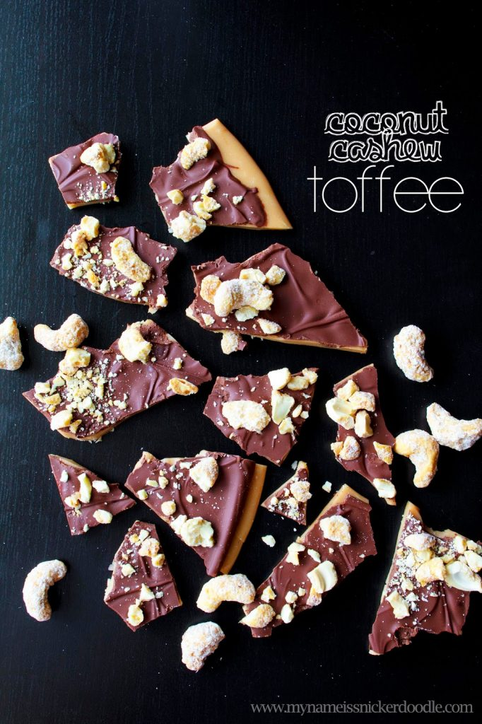 Super easey Coconut Cashew Toffee Recipe  |  My Name Is Snickerdoodle