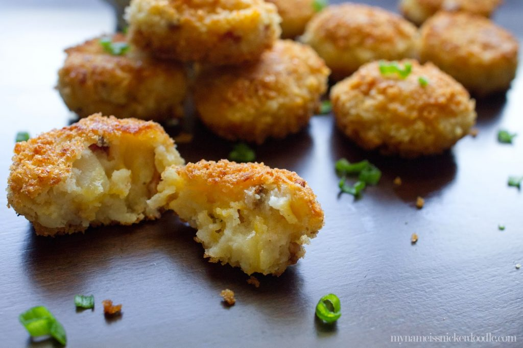 This Loaded Potato Bites recipe uses left over mashed potatoes!  |  My Name Is Snickerdoodle