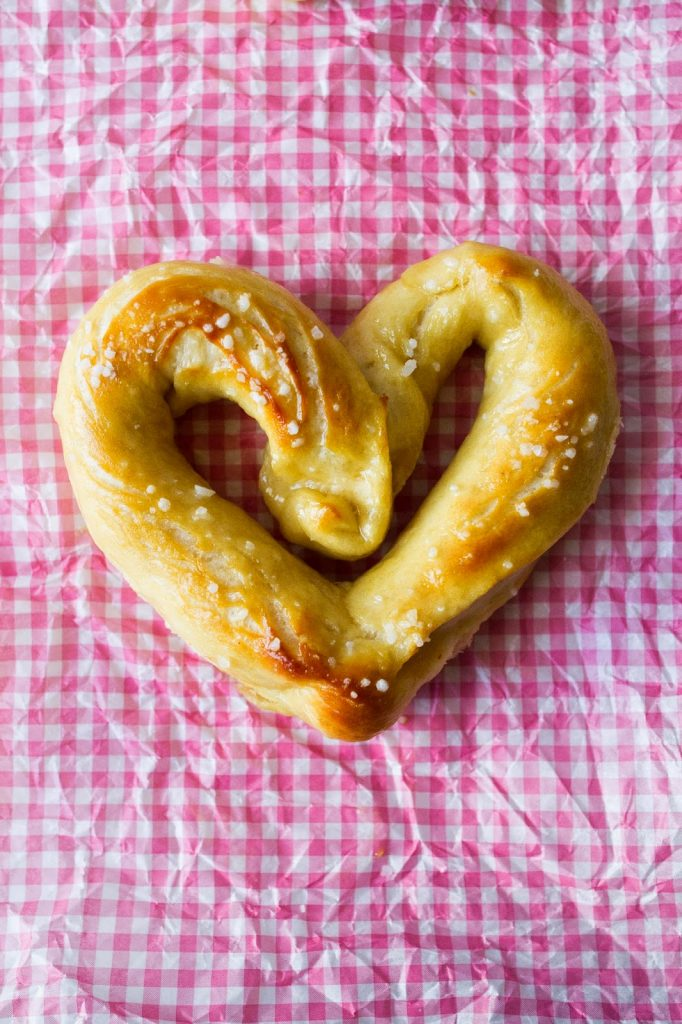 Heart Shaped Soft and Chewy Buttered Pretzels.  It's a great recipe and even includes step by step pictures for how to shape them!  |  My Name Is Snickerdoodle