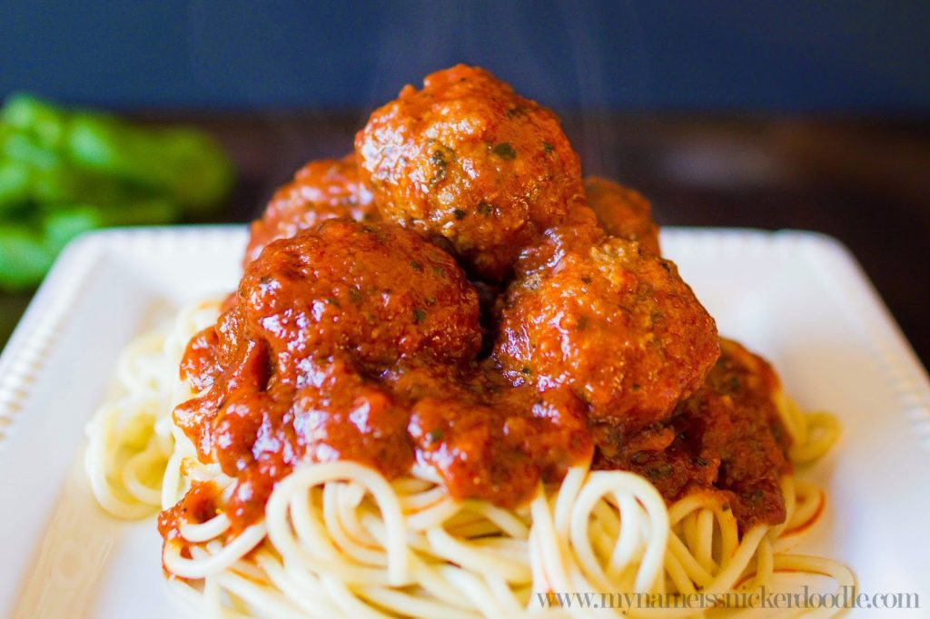 The best Spaghetti and Homemade Meatball recipe!  Super easy to make and your family will love it!  |  mynameissnickerdoodle.com