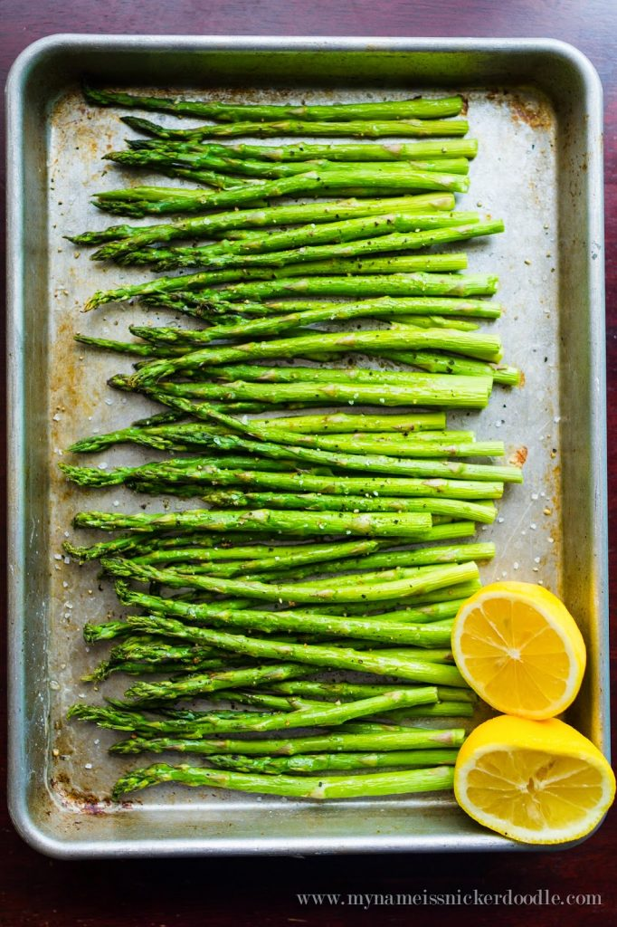Olive oil, salt, pepper and lemon juice are what make this Roasted Asparagus soooo delicious!  Find the recipe at mynameissnickerdoodle.com