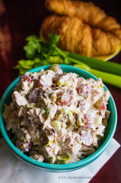 Make the perfect the lunch with this Sonoma Chicken Salad. Made with grapes, celery, and toasted pecans! | mynameissnickerdoodle.com