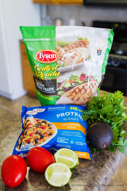 A dinner idea that can be made in 7 minutes?!  Yes please!!!  Southwester Chicken Salad with extra protein tastes great and is extra healthy!  |  mynameissnickerdoodle.com