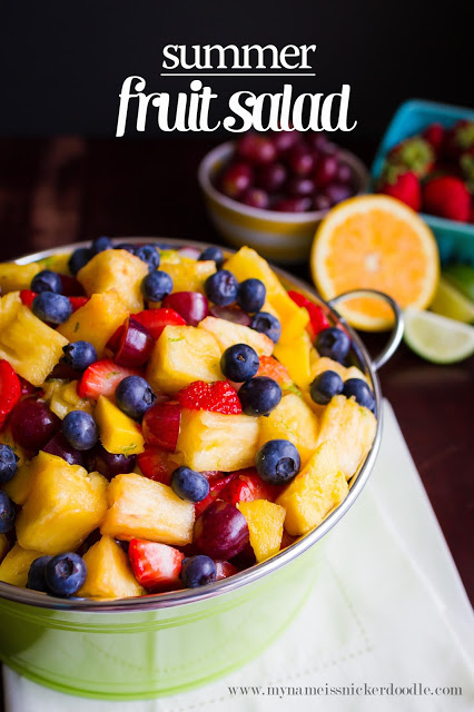 This Summer Fruit Salad looks absolutely delicious and refreshing! There is a secret dressing that puts it over the top! | mynameissnickerdoodle.com