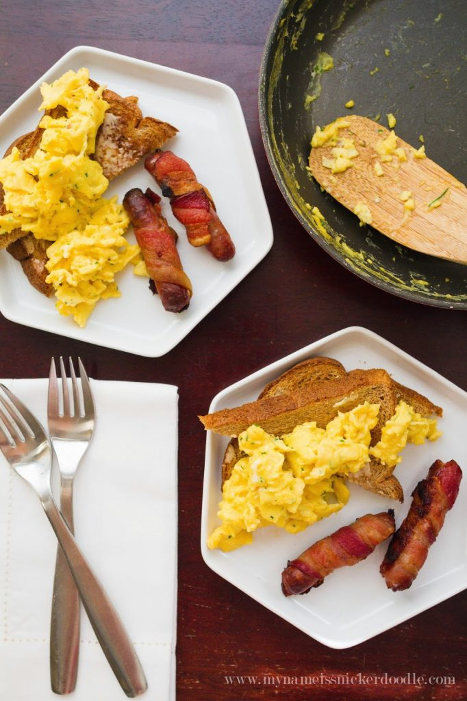 Chive Scrambled Eggs with Bacon Wrapped Sausage. Find the recipe at My Name Is Snickerdoodle