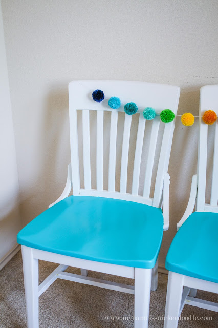 Super fun kitchen chairs! Love the pop of color! | mynameissnickerdoodle.com