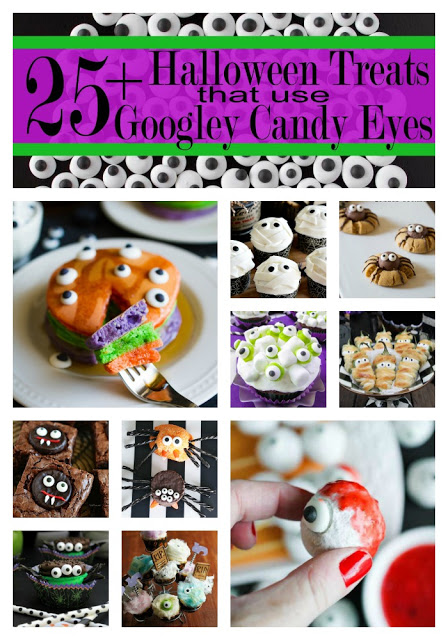 This is a great round up of super fun Halloween Treats using those cool googley candy eyes! Perfect for kids and Halloween Parties! | My Name Is Snickerdoodle