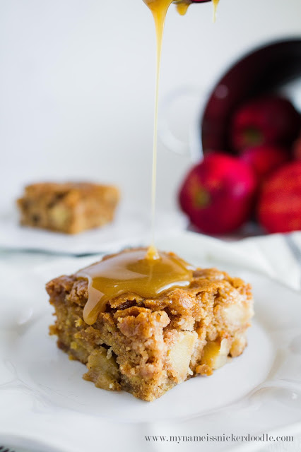 This Apple Cake with a Caramel Glaze looks simply divine!  And perfect for all those holiday parties!  |  My Name Is Snickerdoodle