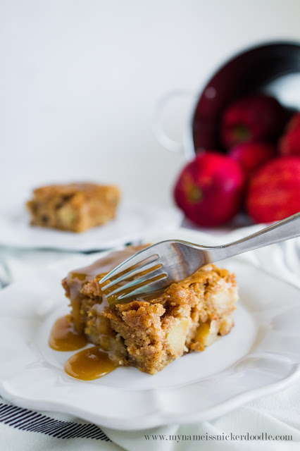 Hello cake!!  This Apple Cake with a Caramel Glaze looks completely delicious!  And the recipe couldn't be easier!  |  My Name Is Snickerdoodle