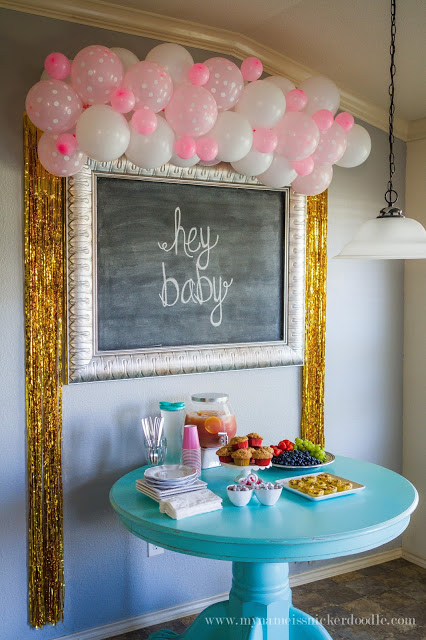 Here is a super adorable idea for a Baby Shower or Baby Brunch Party decorations! Loving that balloon garland! | mynameissnickerdoodle.com