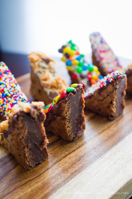 What's better than candy dipped brownies!!!  Hello to my new favorite dessert with an easy recipe.  |  mynameissnickerdoodle.com