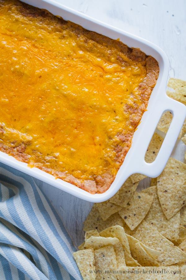 THE BEST Cheesy Bean Dip Recipe!  |  mynameissnickerdoodle.com