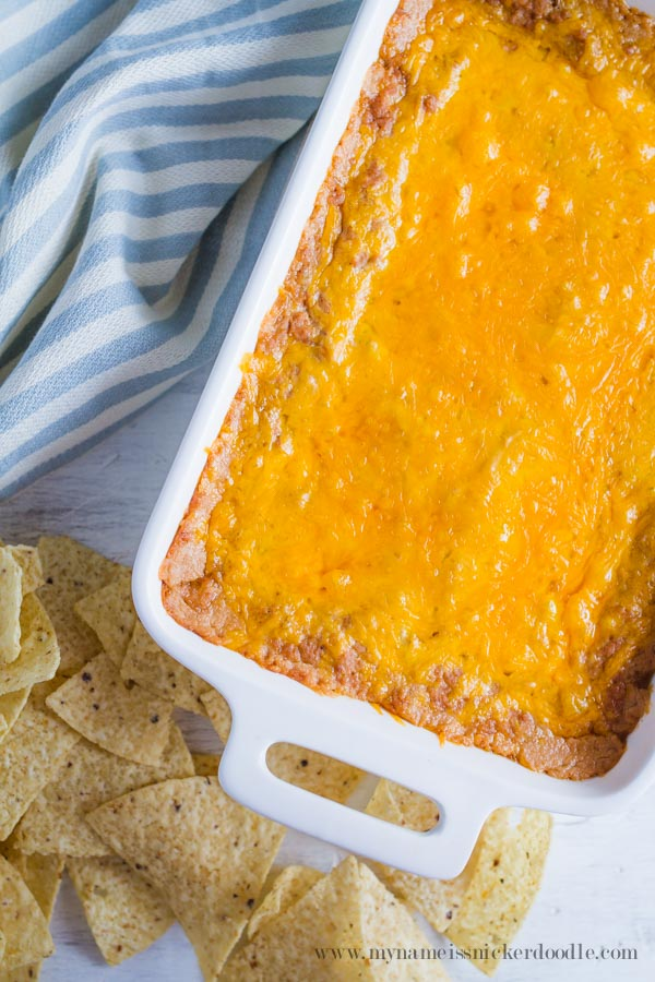 THE BEST Cheesy Bean Dip Recipe!  Perfect for any party!  |  mynameissnickerdoodle.com