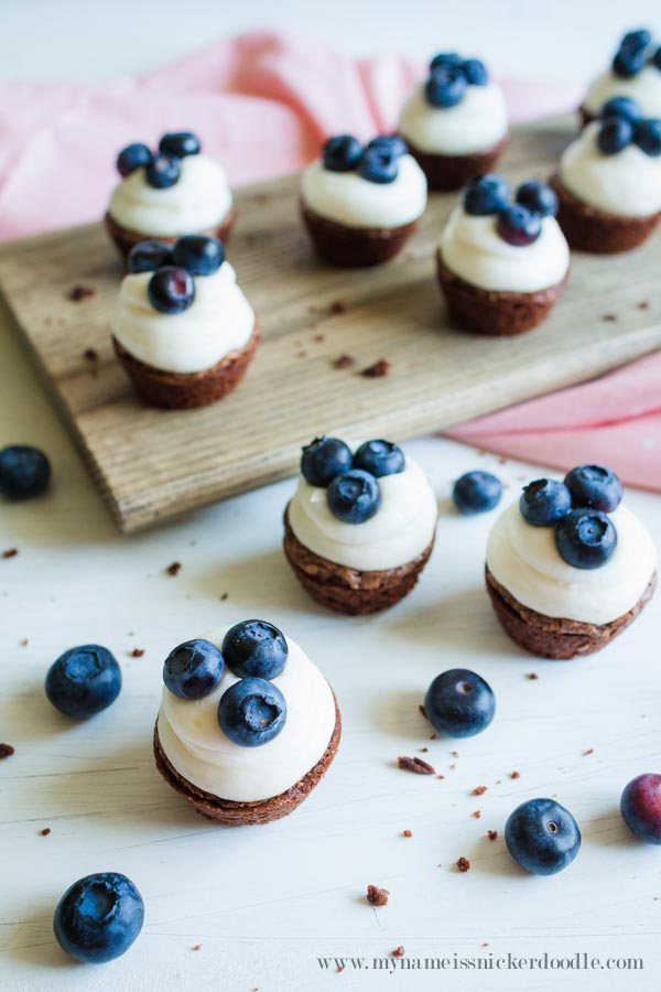 The perfect little dessert recipe! Mini Blueberry Brownie Bites | mynameissnickerdoodle.com