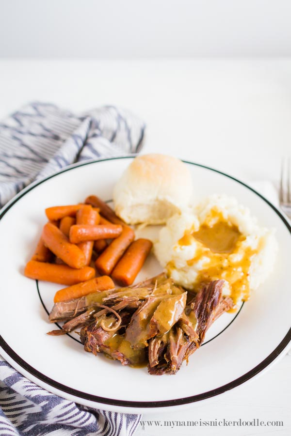 The BEST (and easiest) Sunday Roast Dinner!  It's cooked in a crock pot and is completely yummy! Make sure to click over to the recipe's site for the video how to!  |  mynameissnickerdoodle.com