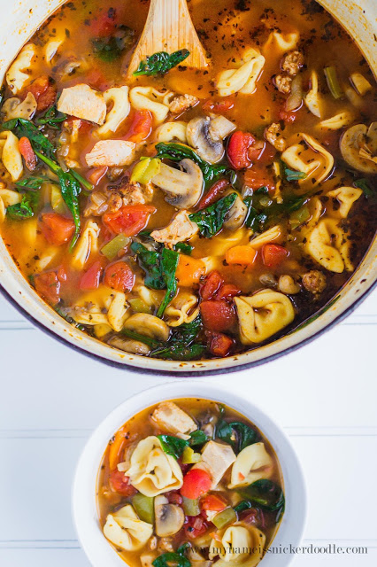 Here is a wonderful Hearty Tortellini Soup recipe! Packed with veggetables and sausage! | mynameissnickerdoodle.com