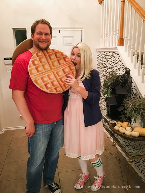 Perfect couples costume for Halloween! Eleven from Stranger Things and a Waffle! Hilarious! | mynameissnickerdoodle.com