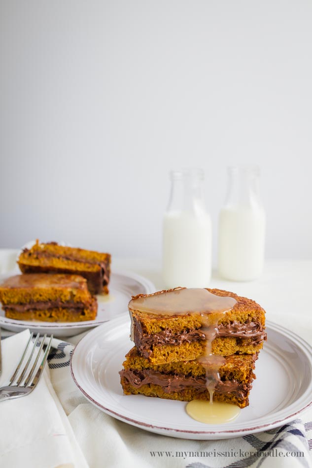 Nutella Stuffed Pumpkin Bread French Toast! Fabulous recipe! | mynameissnickerdoodle.com