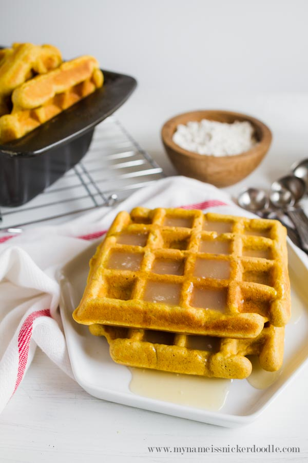 Pumpkin Waffles With Cinnamon Syrup - My Name Is Snickerdoodle