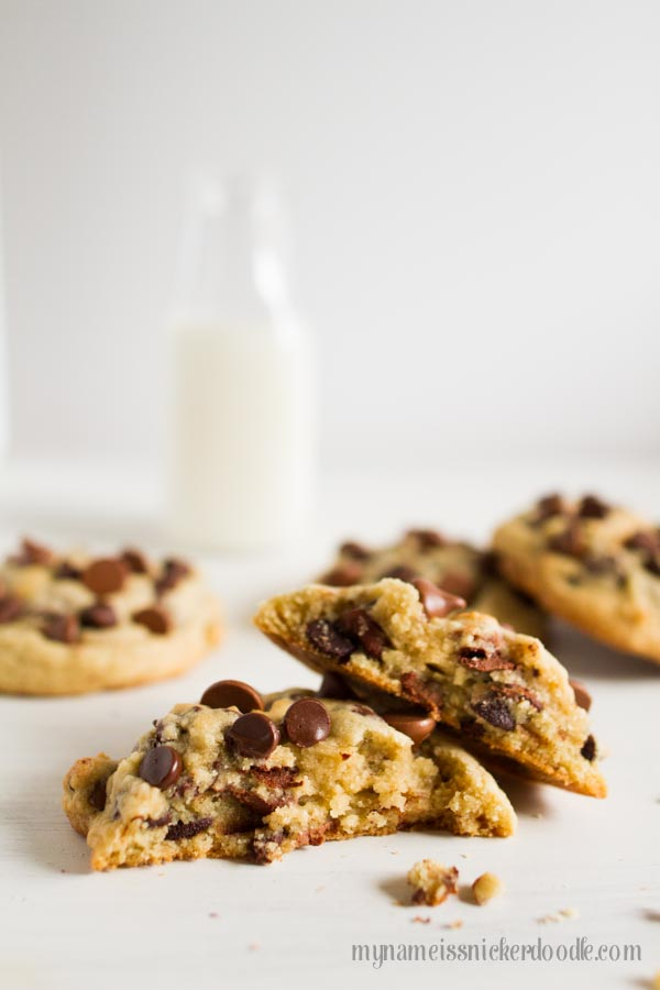 This just might be the most perfect recipe for Big and Chewy Chocolate Chip Cookies! Grab a big glass of milk and get to baking! | mynameissnickerdoodle.com