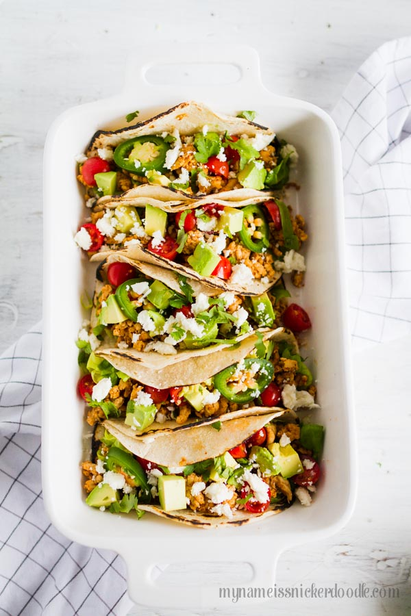 Keep your New Year's Resolution (for being healthy in one way or another!) with these Skinny Tacos! The recipe is made of all fresh ingredients! | mynameissnickerdoodle.com