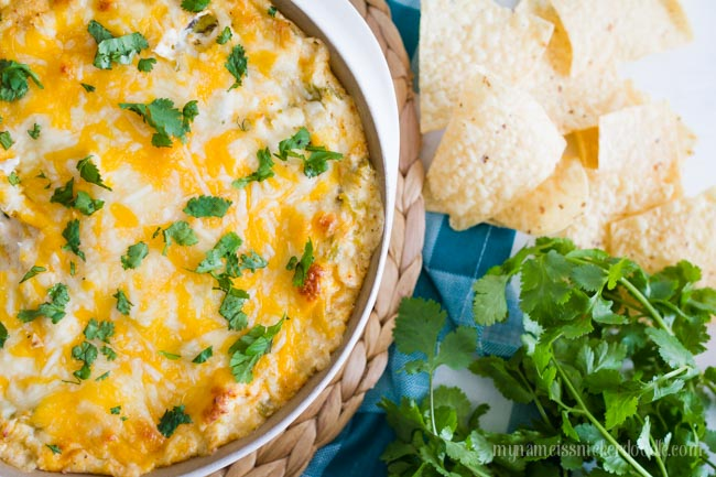 Chicken Enchilada Dip is absolutely perfect for an appetizer or serve it as a meal!  So cheesy and yummy!  |  mynameissnickerdoodle.com