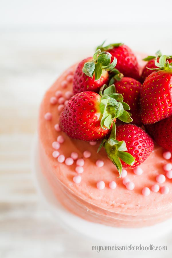 An easy and delicious recipe for Strawberry Butter Cream Frosting using fresh strawberries!  |  mynameissnickerdoodle.com