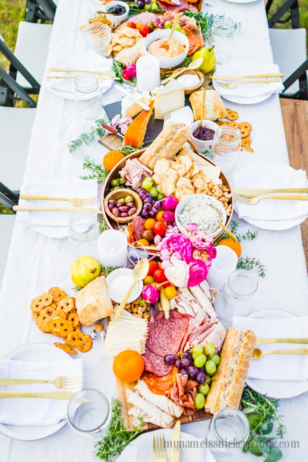 The ultimate Charcuterie Spread! A beautiful outdoor party! | mynameissnickerdoodle.com