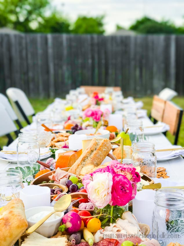 The ultimate Charcuterie Spread! A beautiful outdoor backyard party! | mynameissnickerdoodle.com