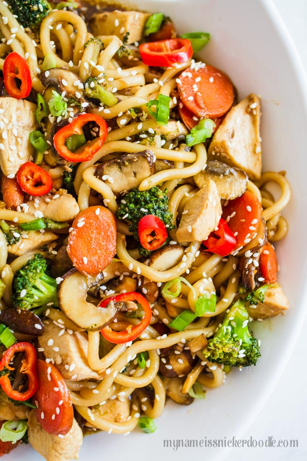 Chicken And Vegetable Noodle Bowl recipe. Perfect for a weeknight meal and made in under 30 minutes! | mynameissnickerdoodle.com