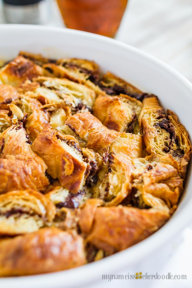 Nutella Stuffed Croissant French Toast Bake. Perfect for breakfast or brunch! | mynameissnickerdoodle.com