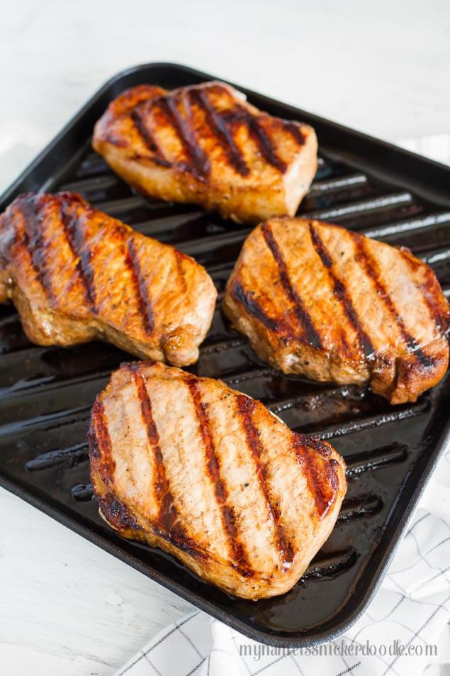 Grilled Garlic Balsamic Pork Chops | mynameissnickerdoodle.com