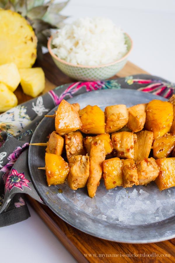 Quick and Simple 3 Ingredient Chicken Pineapple Skewers   mynameissnickerdoodle.com