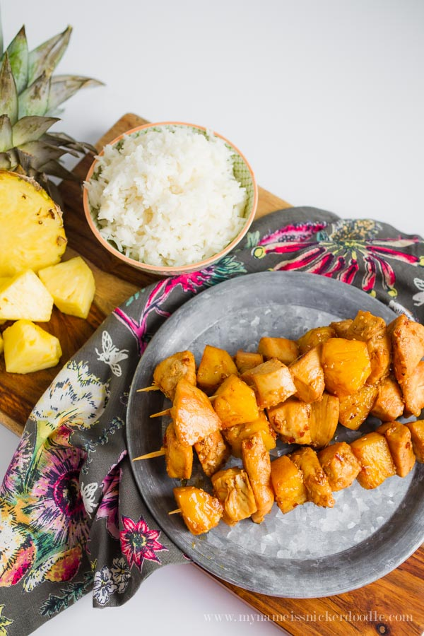 Quick and Simple 3 Ingredient Chicken Pineapple Skewers | mynameissnickerdoodle.com