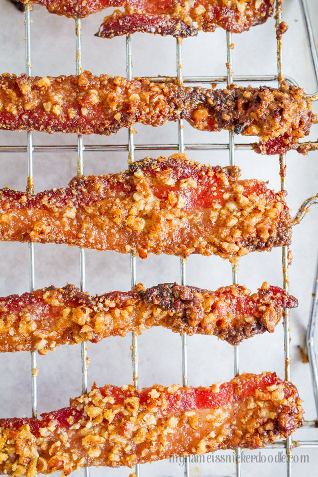 The best recipe for Pecan Sugared Bacon!  It's pure heaven and makes any breakfast even better!  Also great for any holiday.  |  mynameissnickerdoodle.com