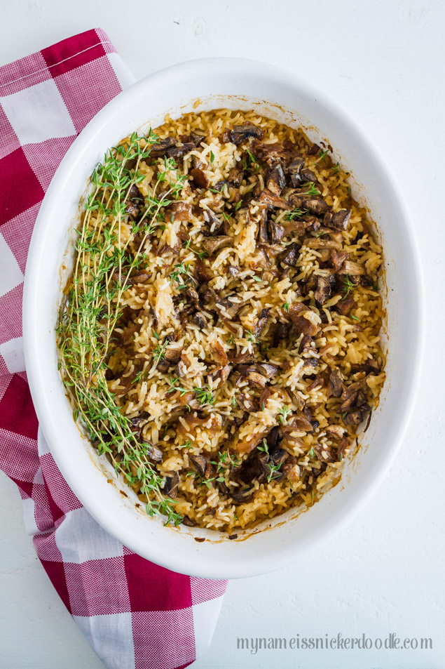 Rice and Mushroom Dish Recipe.  A yummy and super easy side dish for any meal.  |  mynameissnickerdoodle.com